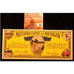 """Mecosta County of Michigan"" Scrip, CU. ""Issued Under House Enrolled Act No. 51, Regular Session of"