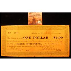 "Jan. 24, 1933 $1.00 Depression Scrip ""Marion, South Dakota"" with stamps attached to back."