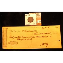 Sept. 9, 1869 Receipt from A Brusseau & Co., New Orleans $7.50; & 1890 P U.S. Seated Liberty Dime, D