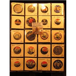 "(20) Old Original Political Pins & medals in a 20-pocket 2"" x 2"" plastic page, includes Eisenhower,"