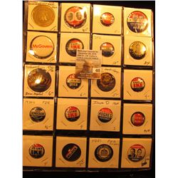 "(20) Old Original Political Pins & medals in a 20-pocket 2"" x 2"" plastic page, includes Goldwater, K"