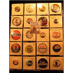 "(20) Old Original Political Pins & medals in a 20-pocket 2"" x 2"" plastic page, includes Goldwater, S"