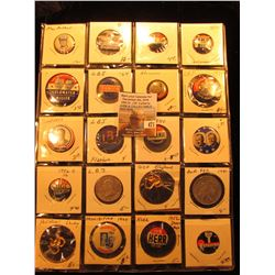 "(20) Old Original Political Pins & medals in a 20-pocket 2"" x 2"" plastic page, includes Mac Arthur,"