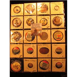 "(20) Old Original Political Pins & medals in a 20-pocket 2"" x 2"" plastic page, includes Kefauver, Wi"
