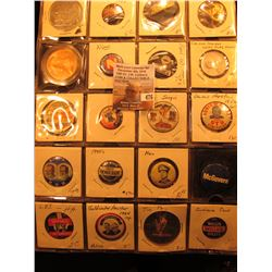 "(20) Old Original Political Pins & medals in a 20-pocket 2"" x 2"" plastic page, includes Nixon, Warre"