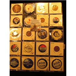 "(20) Old Original Political Pins & medals in a 20-pocket 2"" x 2"" plastic page, includes Taft, Kenned"