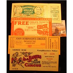 (4) Different Pieces of Circus Memorabilia Scrip, Coupons, Tickets, & etc. dating back to the 1930s.