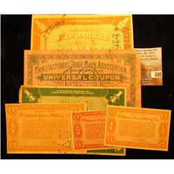 "NY. 1915 ""Manufacturers Trade-Mark Association Universal Coupon 10; (3) different ""Albers Profit Sha"