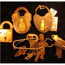 Group of Old Brass Railroad Locks & Keys.