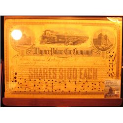 "15th Day of February 1892 ""Wagner Palace Car Company"" hole cancelled Stock Certificate for 7 Shares,"