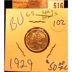 1929 P Mercury Dime Gem BU split bands