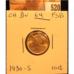 1930 S Mercury Dime Choice BU FSB