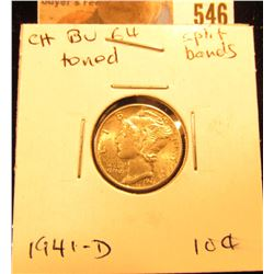 1941 D Mercury Dime. Choice BU Split Bands, toned.