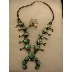 """Al Yazzie"" made and stamped Sterling Silver and Turquoise Squash Blossom Necklace. (17) Turquoise i"