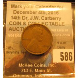 1909 P VDB Lincoln Cent. Fine. Key date.