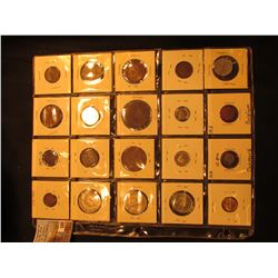 20-Pocket Plastic page with (20) foreign coins from Belgium, Great Britain, Germany, Denmark, & etc.