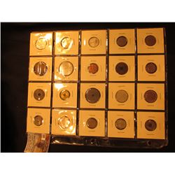 20-Pocket Plastic page with (20) foreign coins from France, Portugal, Viet Nam, Poland, South Africa