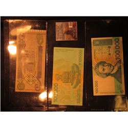 Central Bank of Iraq One Dinar, CU; & (2) 100,000 Dinara Republic of Hrvatska Banknotes. All CU.