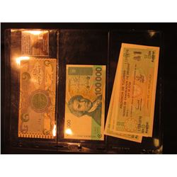 (3) Province of Tucuman Republic of Jardin Un Austral Banknotes, CU; 100,000 Dinara Republic of Hrva