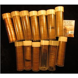 (13) Partial and full Rolls of Lincoln Cents. includes a 1974 D roll, AU-BU & several rolls dating i