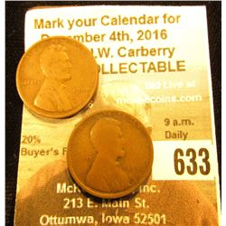 1909 S??? & 1909 P Lincoln Cents, G-VG.