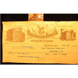 "Jan. 30, 1912 Keokuk, Iowa Invoice with letterhead from ""The Huiskamp Bros. Co. Wholesale Manufactur"