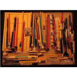 "12"" x 16"" Glass faced Case containing a large assortment of Collectible Advertising Pencils and etc."