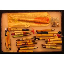 "8"" x 12""  Glass faced Case containing a large assortment of Collectible Advertising Pencils and etc."