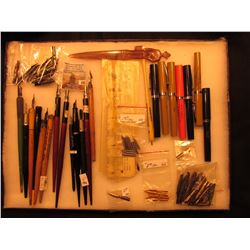 "12"" x 16"" Glass faced Case containing a large assortment of Collectible Fountain Pens, heads, Advert"
