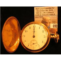 Elgin National Watch Company Men's Size 18? Lever-set Pocket Watch with engraved Gold-filled Hunting