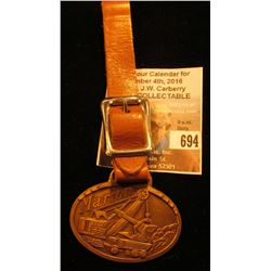 """Marion Power Shovel Co., Marion, Ohio U.S.A."" brass Watch Fob with leather strap. Excellent conditi"