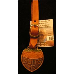 """Cedar Rapids Suits Me"", ""Help Boost for a Greater and Better Cedar Rapids"" Brass Watch fob with lea"