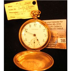 Rare Seth Thomas Lever set Gold-filled Hunting Case 7 Jewel Pocket Watch. Runs part time. Size 18.