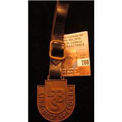 """Link-Belt Speeder"" Advertising Watch Fob with leather strap."