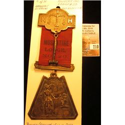 """""""Muscatine Lodge No. 20 K of H"""" Hangar and Ribbon, possibly Knight's of Honor. 1880-1910 era."""