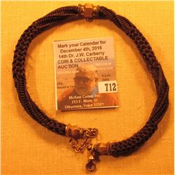 Braided Hair Watch Chain with gold-filled attachments.