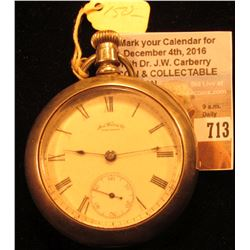 """""""American Waltham Watch Co."""" Open-faced Pocket Watch with """"Dueber Silverine"""" case, movement no. 3693"""