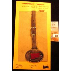 """""""Red Steam Ship Line"""" Watch Fob with leather strap. Depicts the red banner."""