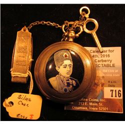 Turkish .875 fine Silver Cased Key-wind watch with enameled Turkish ruler on face cover, ornate dial