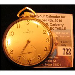 Helbros Watch Co. 17 Jewel Open-faced Pocket Watch with gold-filled case. Runs excellent.