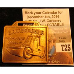 """""""Wagnermobile Scoopmobile Model H"""" Brass Watch Fob, """"Mixermobile Mfg's Portland Oregon"""", no leather"""