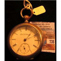 Elgin National Watch Co. Open-faced Pocket Watch, Case marked Dueber Silverine Keywind, but no key.