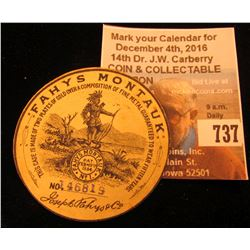 "Label for inside cover of watch. ""FAHYS MONTAUK No. 46819"". Mint, unused."