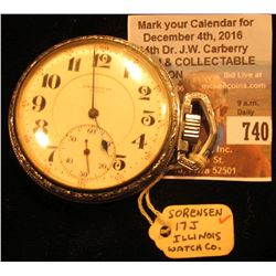 """Sorenson Co. Special"", ""Illinois Watch Co. Springfield"" Open face Pocket Watch, Movement No. 313173"