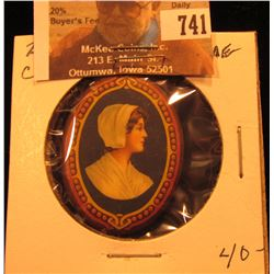 Baker's Chocolate Pin-back. Depicts Pioneer Woman with Bonnet.