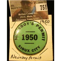 """Newsboy's Permit 1950 Sioux City"" Pin-back. (Iowa)"