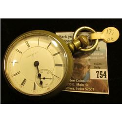 """Elgin National Watch Co."" Open-face Pocket Watch, Movement no. 8684948. Case ""FAHYS Oresilver Pat."