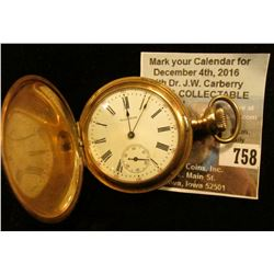 """American Waltham Watch Co."" Hunting case Pocket Watch, Movement no. 16601963. Case marked ""14K Guar"