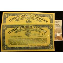 "(2) Pieces of Scrip ""Luzianne Premium Certificates are also packed in Luzianne Tea…"" July 1st, 1936,"