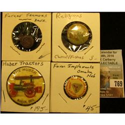 """Future Farmers America"" Pin-back; ""Miraculous Draught of Fishes"" Pin-back; ""Mfrs. Of Agr'l Impl'ts"